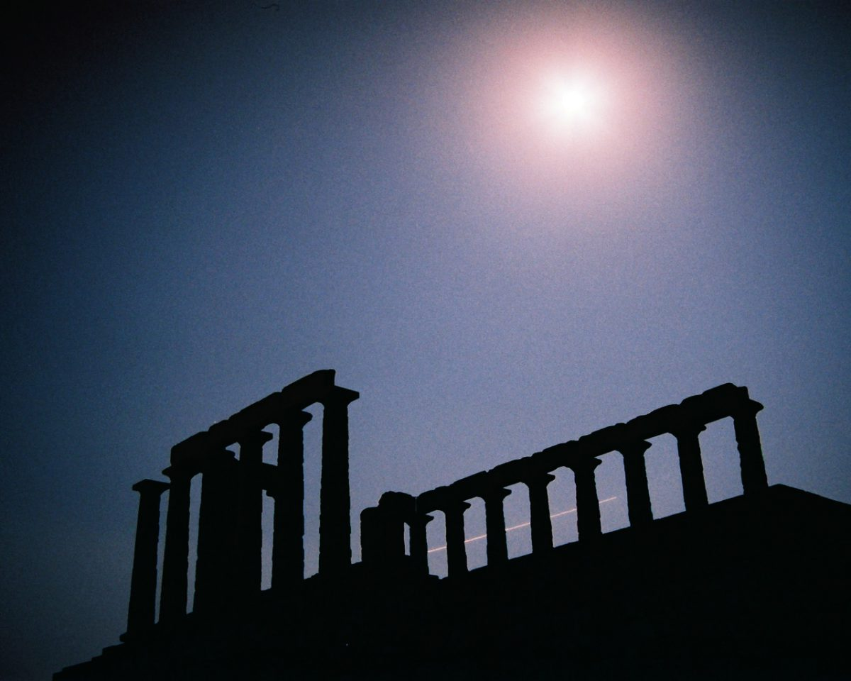 Sounio with full moon, landmark, moon, night, exposure, constrast
