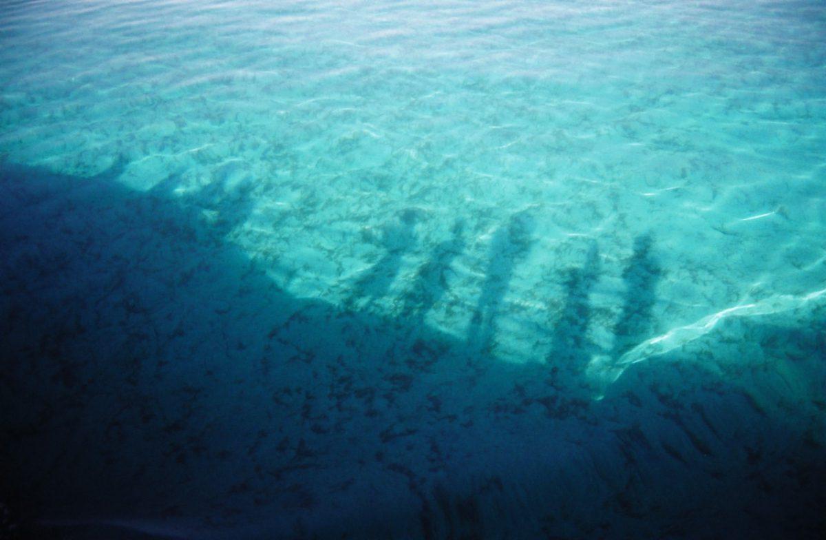 sea, shadow, monochromatic