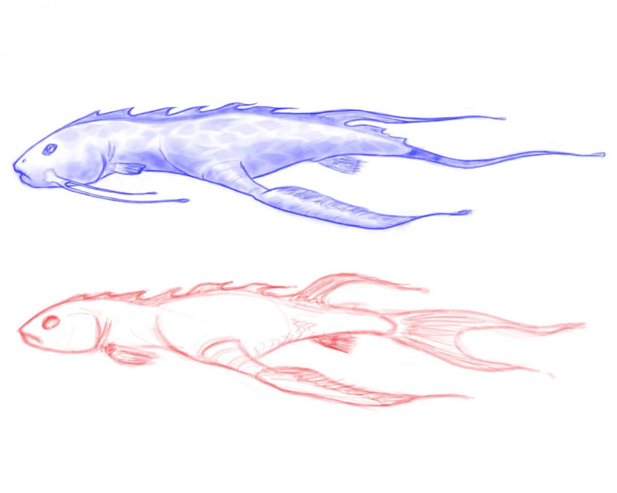Fish - Digital illustration. Concept design for one of the ASD real time demos., digital, sketch, illustration, ch3