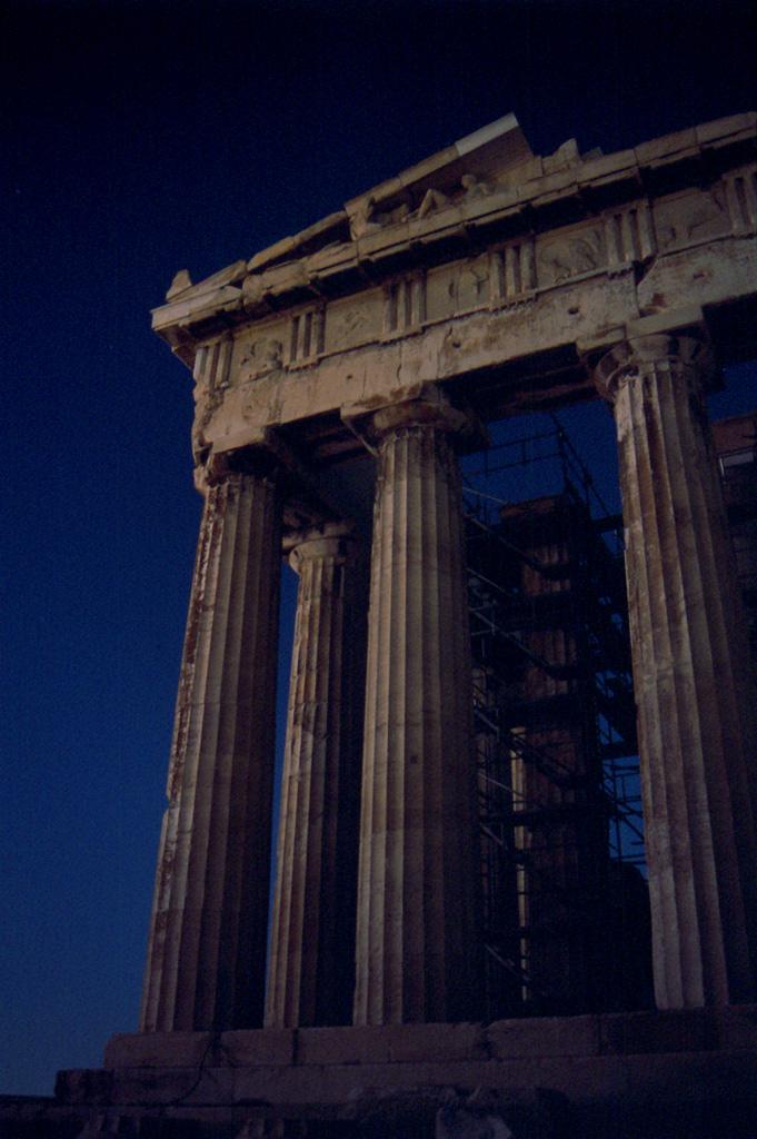 Parthenon, night, landmark
