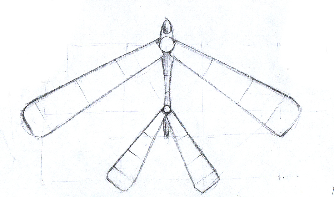 Sailplane - Pencil on paper. Design for 3D animation, paper, sketch, illustration, ch3