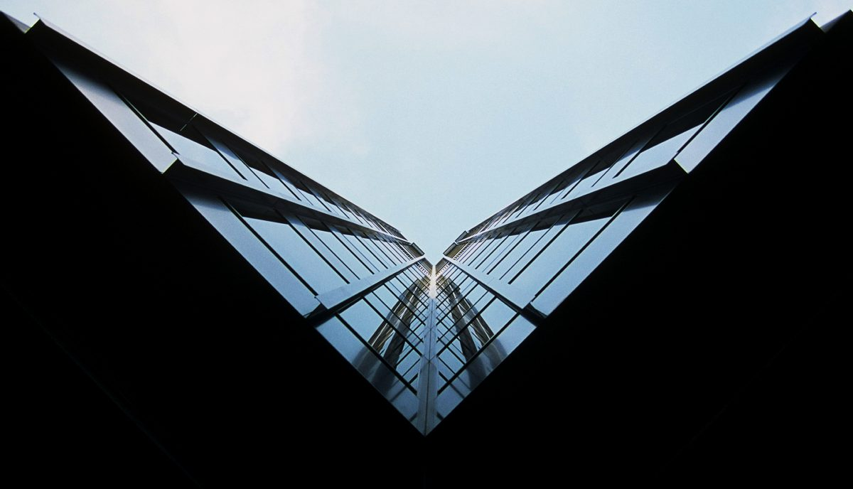 building, sky, contrast