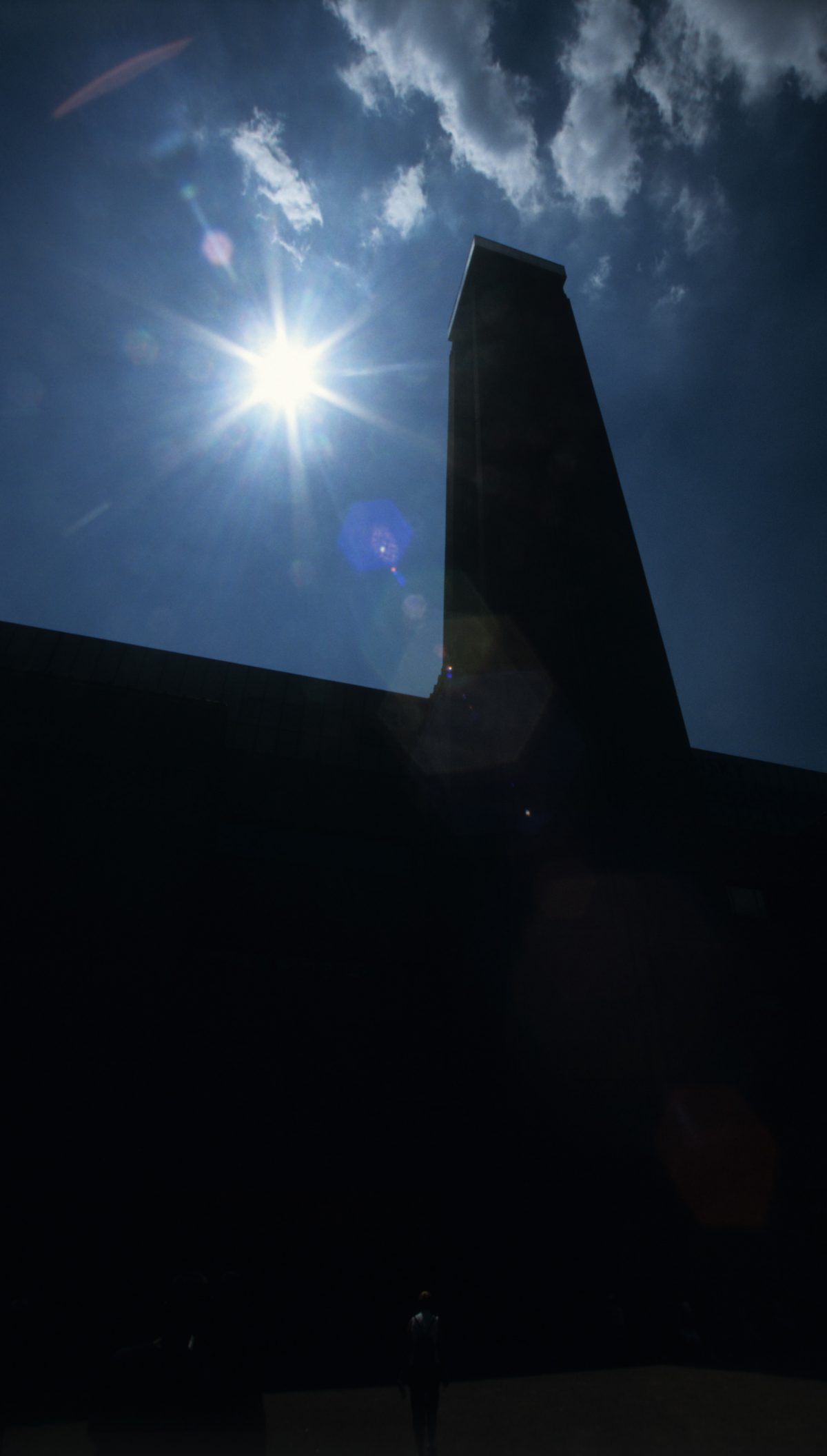 chimney, sky, sun, building, contrast, constrast