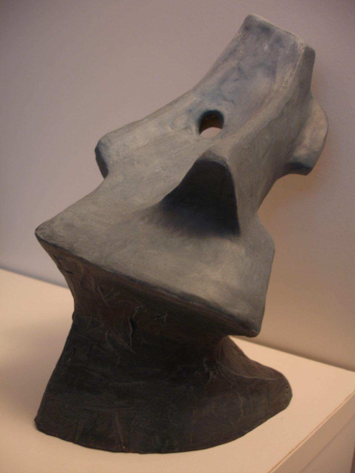 Split face - 20cm, clay/acrylics, clay, ch3, acrylic, bust
