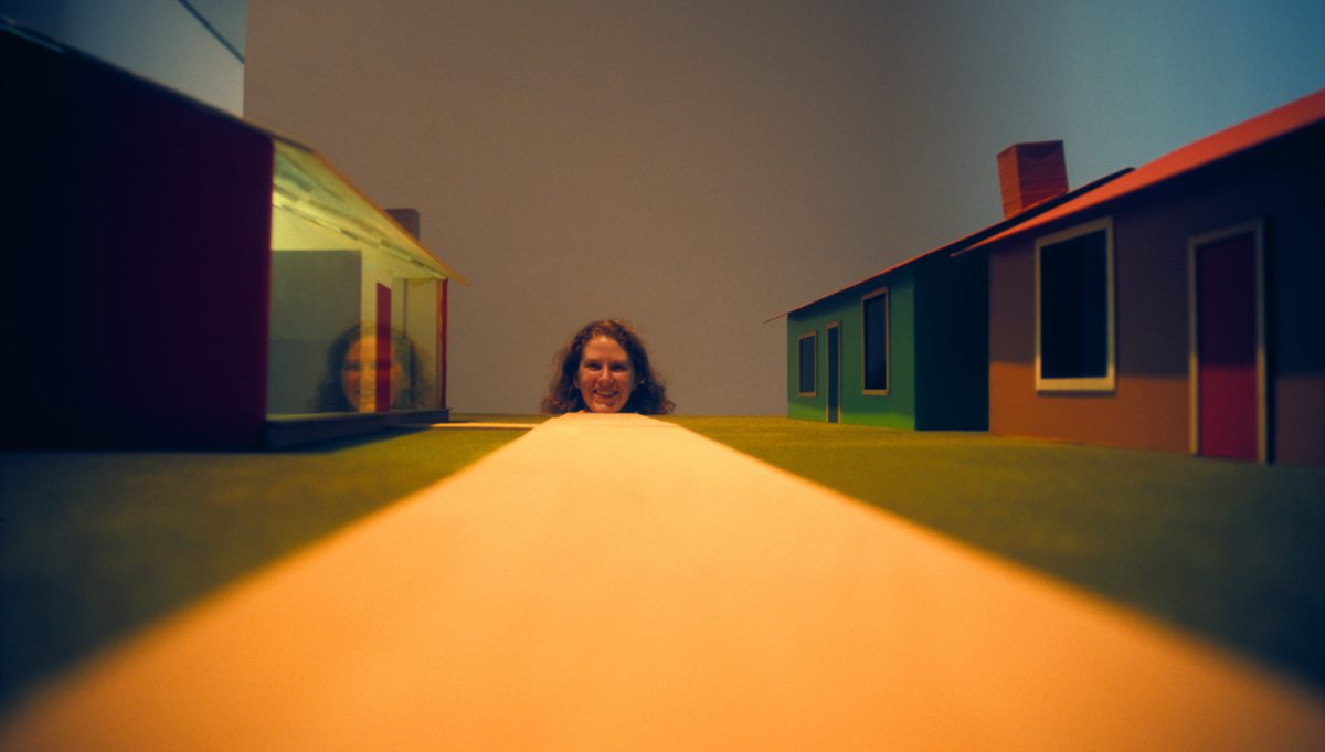 On the road - Museum of Contemporary Art, female, face, house