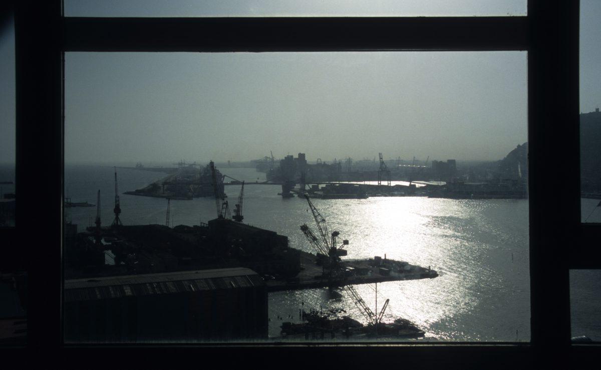 view, port, sea, contrast, crane