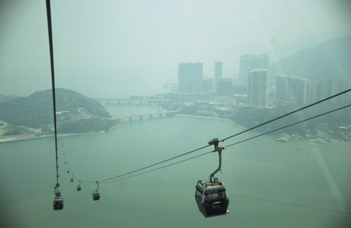 Cable car ride, height, sea, building, city, fog