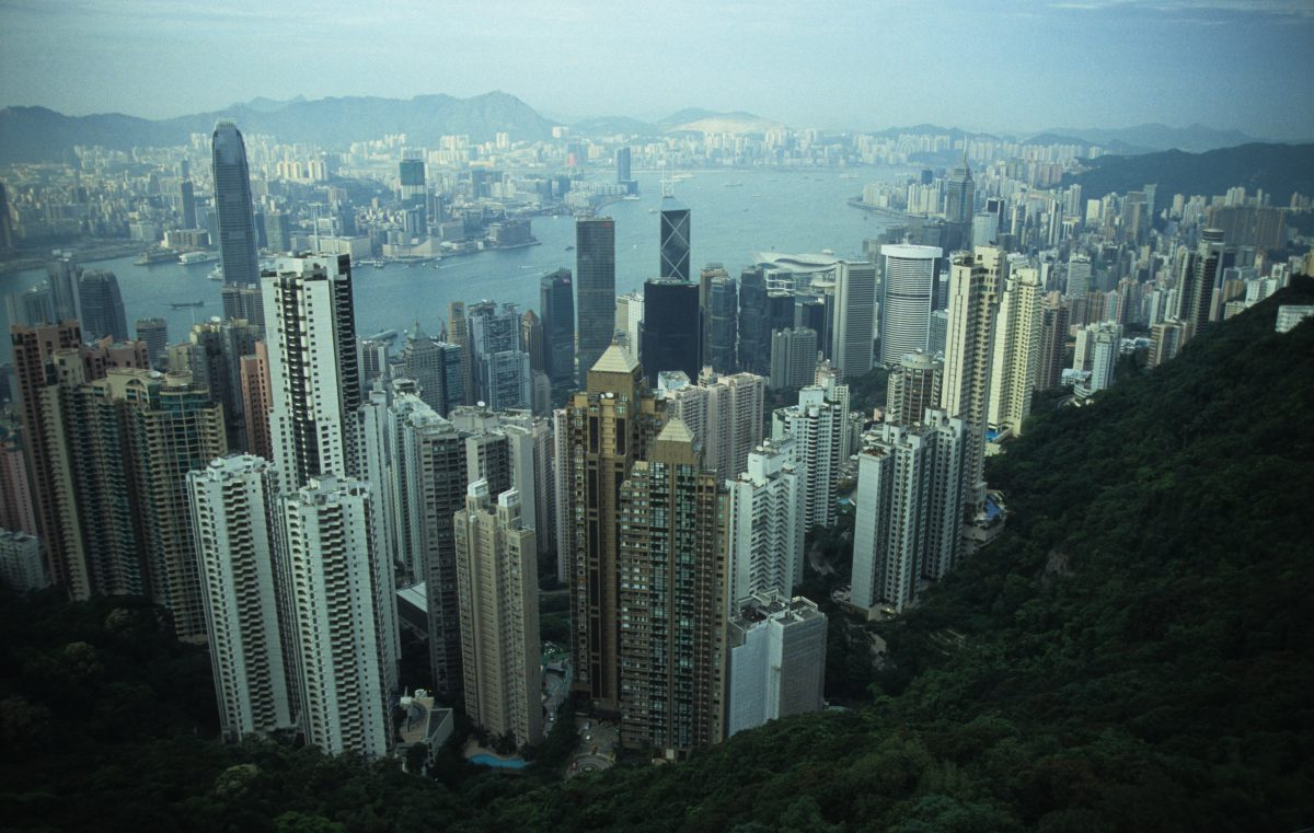 HK overview - from the Victoria Peak, view, height, city, skyline, sea, building
