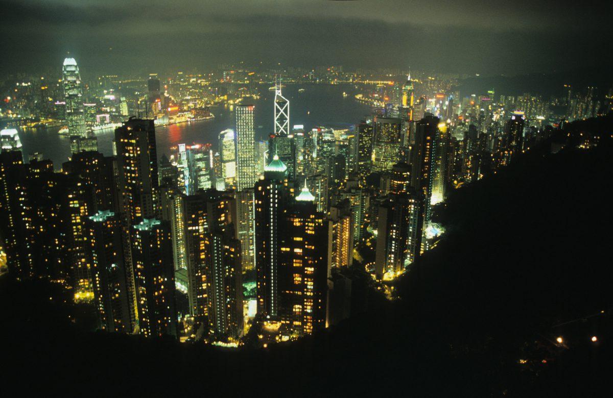 city, night, light, view, building