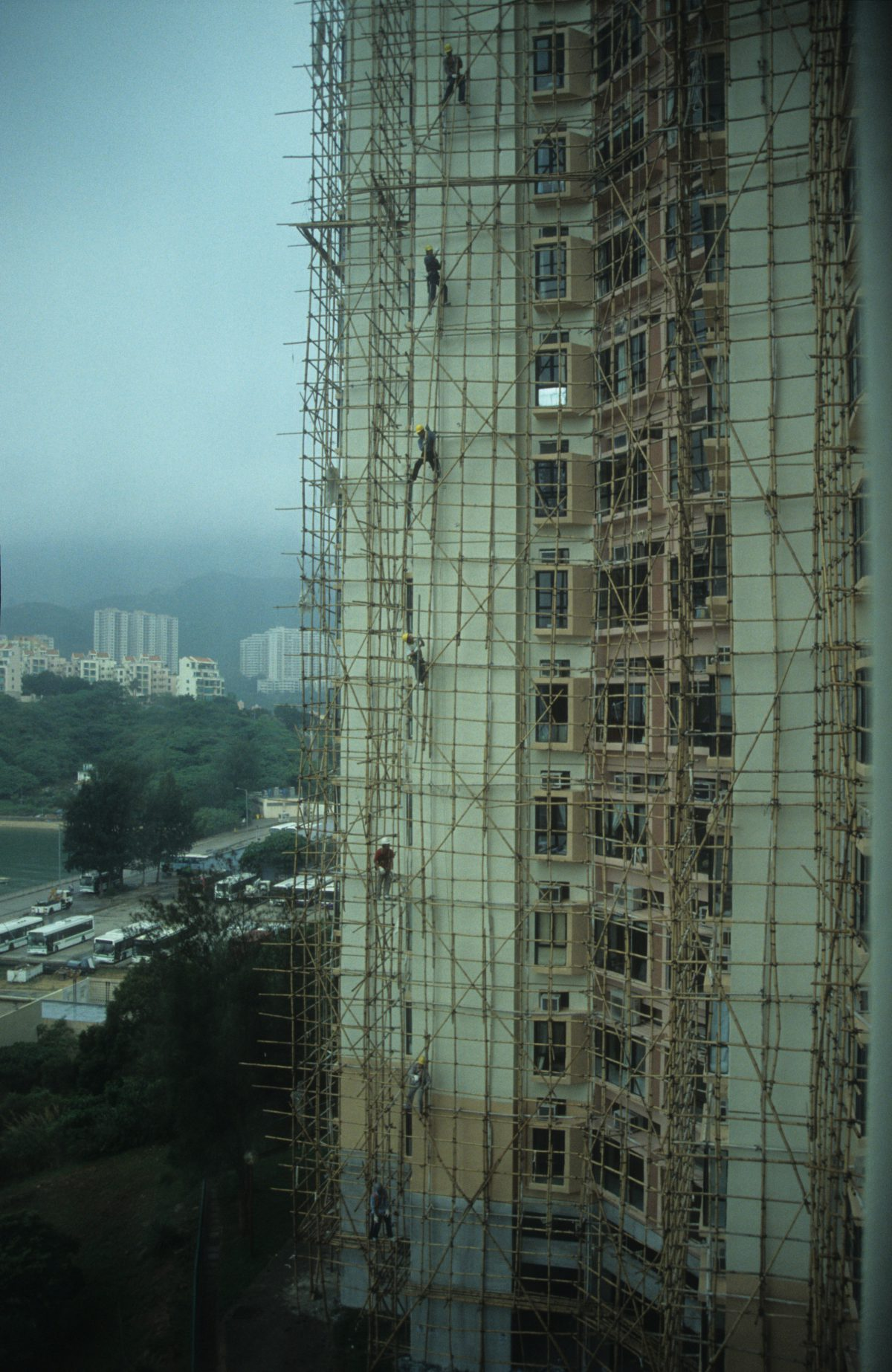 Bamboo scaffolding, building, male, height