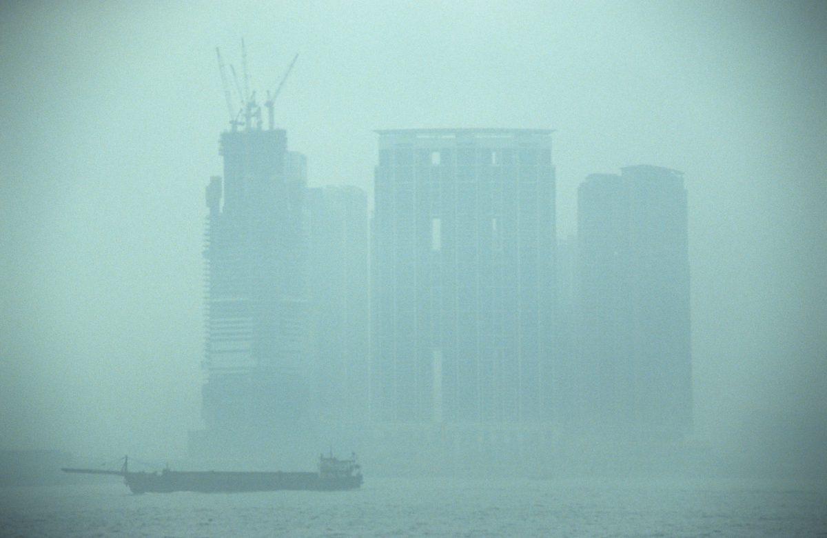 Mist, building, boat, sea, fog, monochromatic