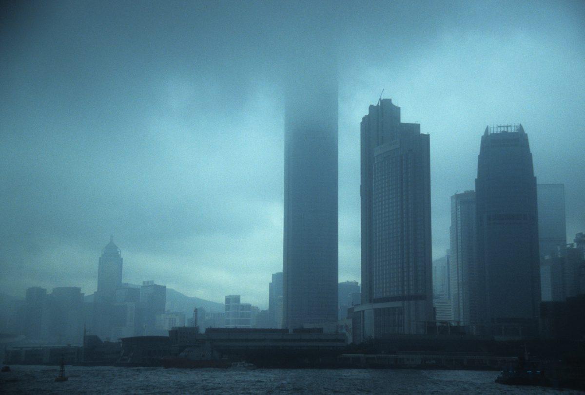 sea, city, building, fog, monochromatic