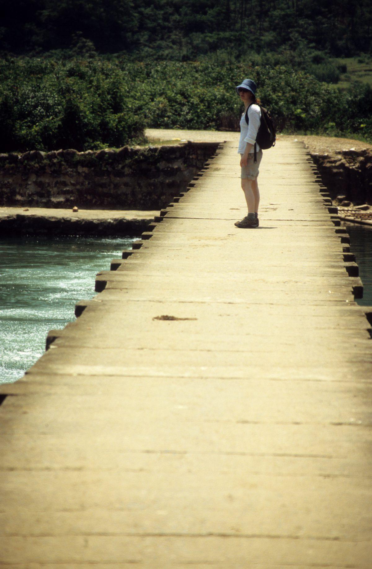 female, bridge, water