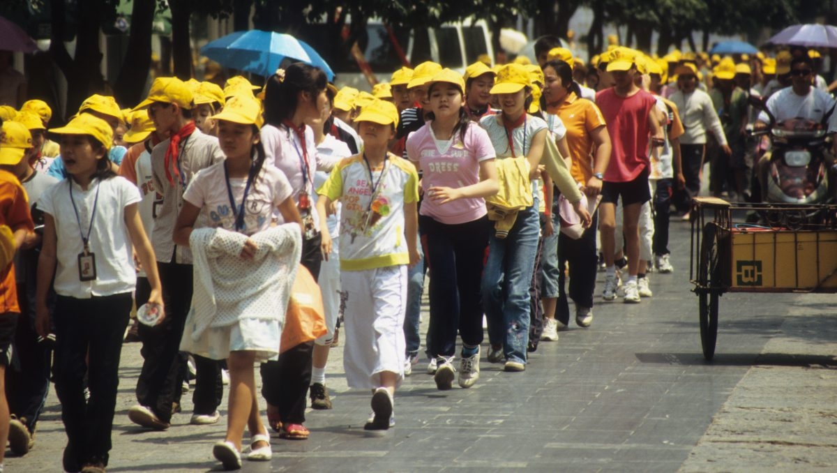Students in yellow, student, color, walk