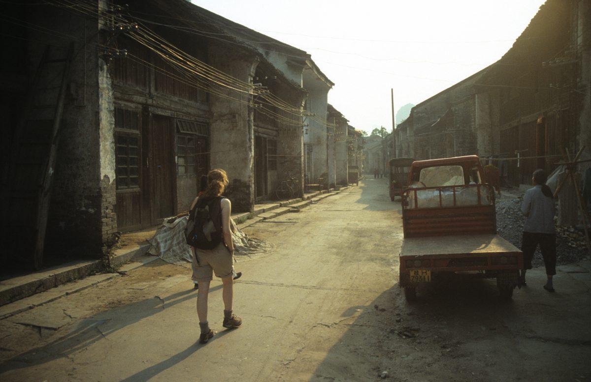 alley, female, car, decay