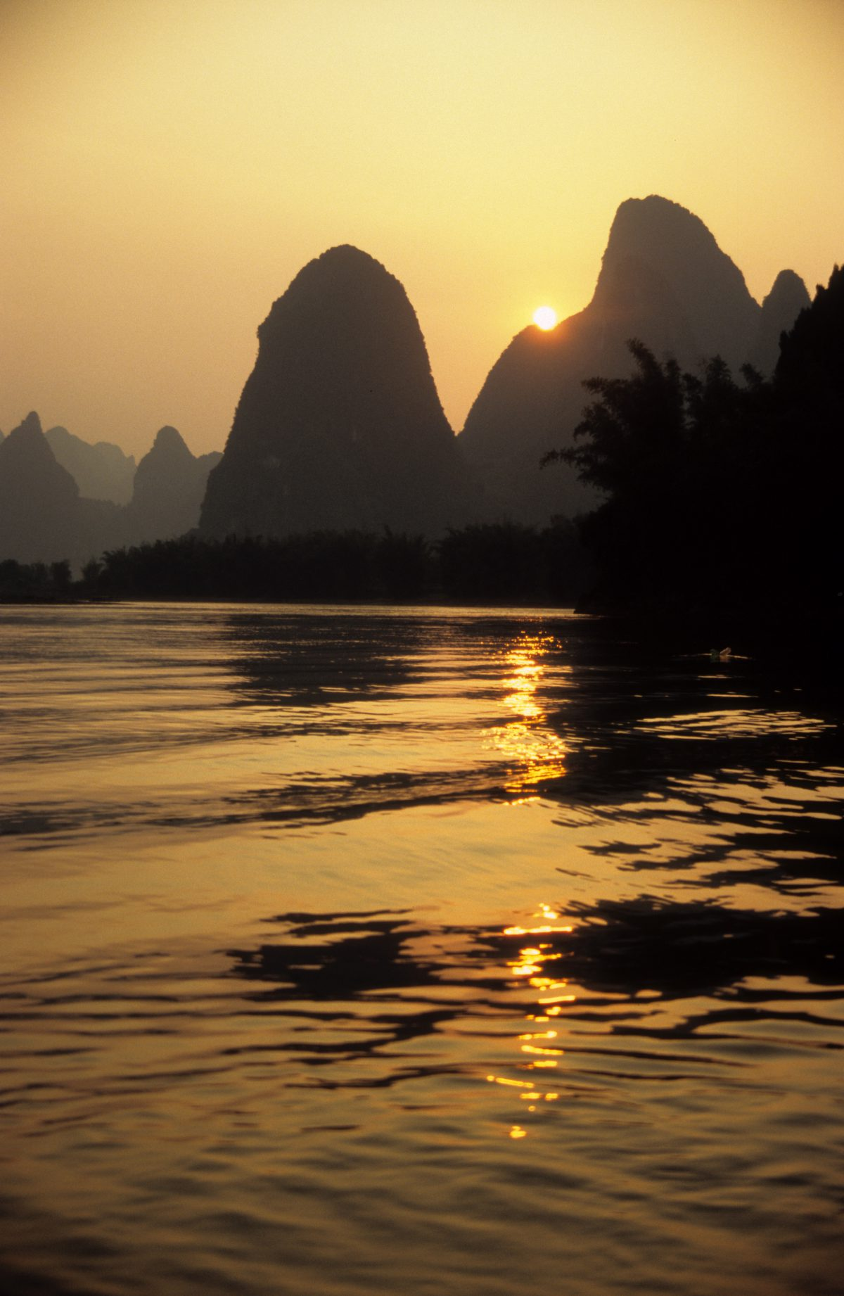 Li River Cruise, sunset, reflection, water, mountain