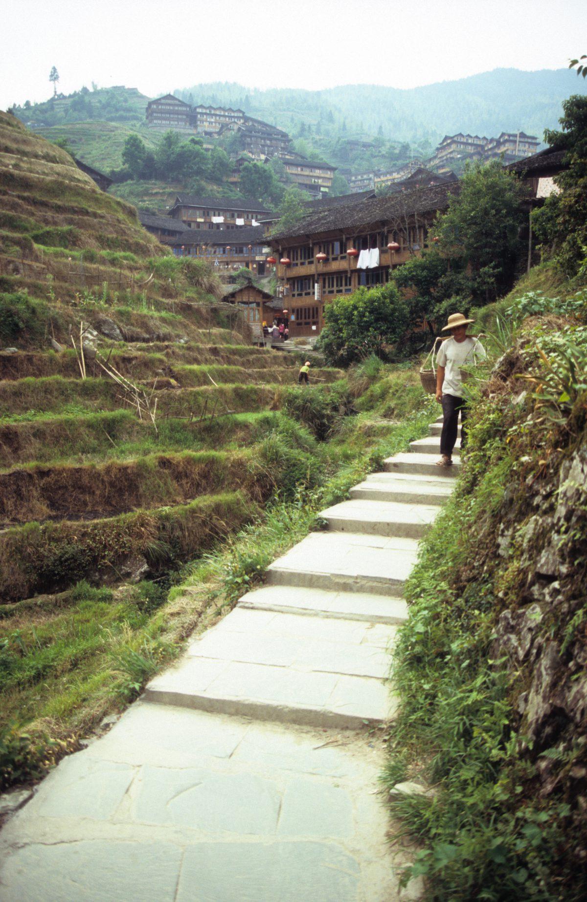 stair, female, village