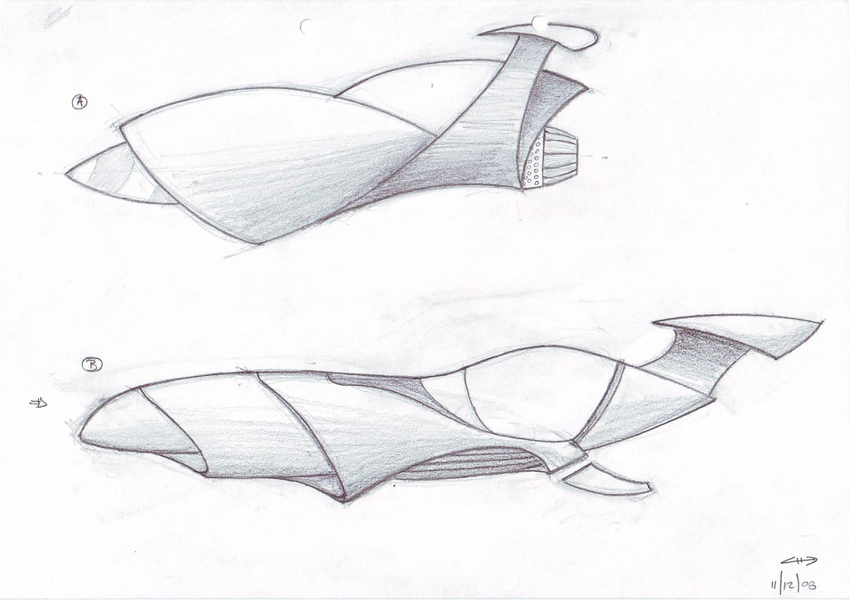 Flying car - Pencil on paper. Vehicle concept design for an Emptyfilm teaser production, paper, sketch, illustration, ch3