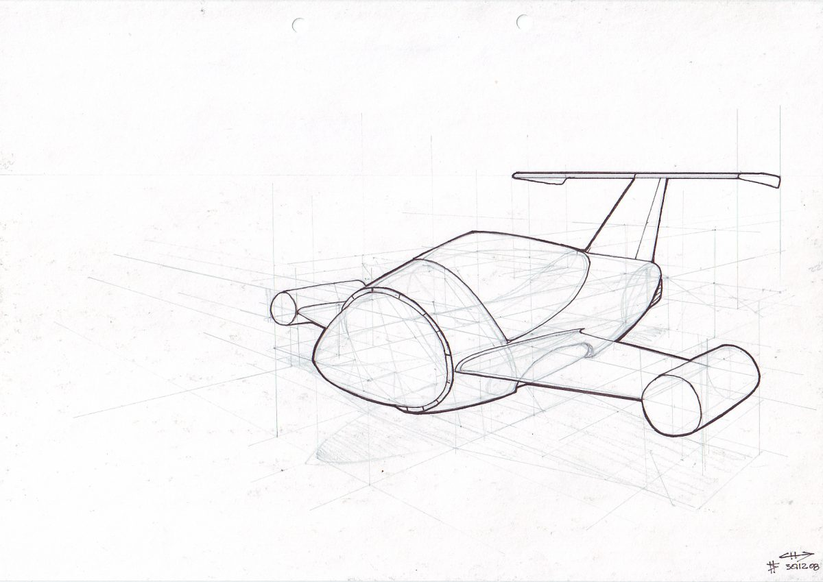 Flying car - Pencil & Pen on paper. Vehicle concept design for an Emptyfilm teaser production, paper, sketch, illustration, ch3