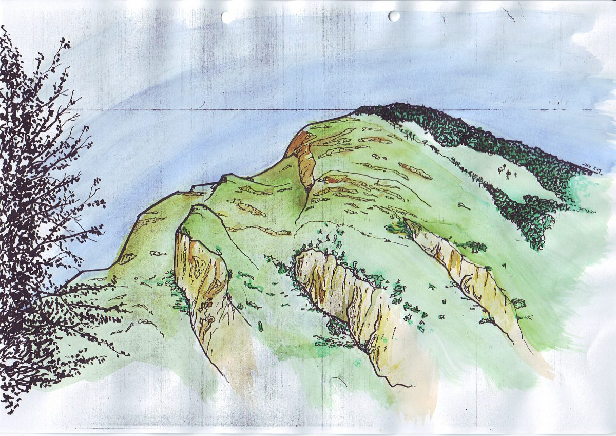 Pyrenees - Watercolor on photocopy, paper, illustration, ch3