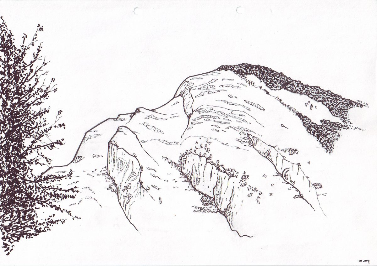 Pyrenees - Pen on paper, paper, illustration, ch3