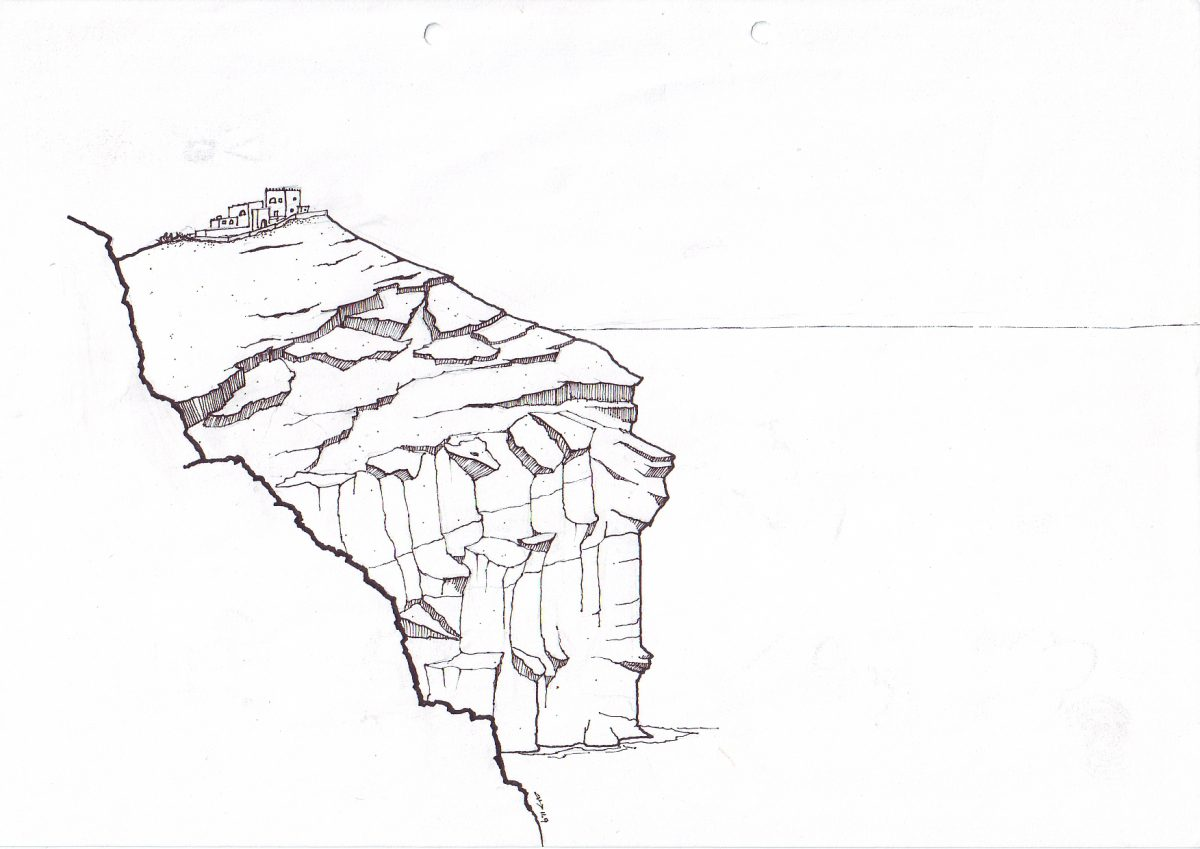 Santorini - Pen on paper, paper, illustration, ch3