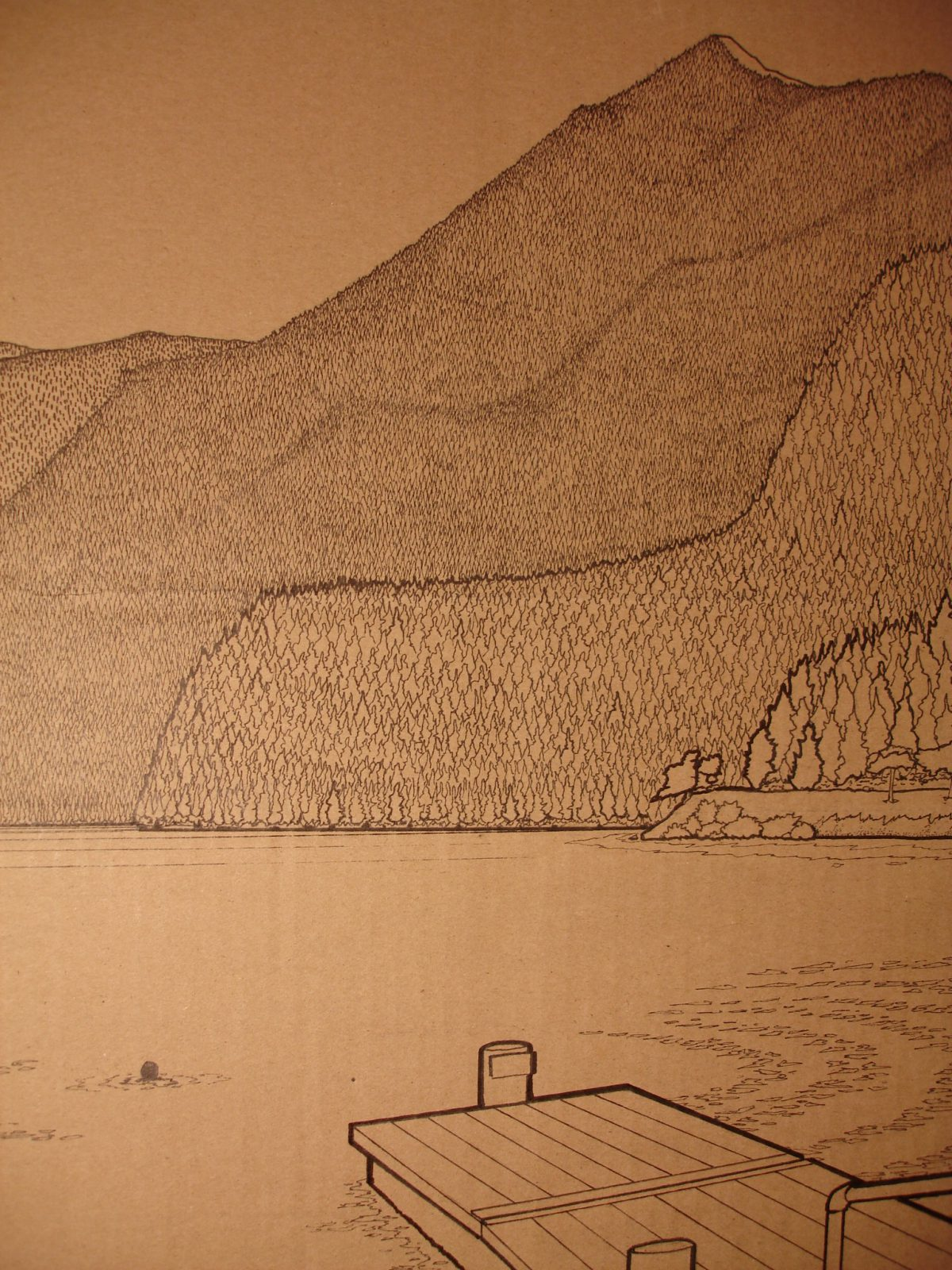 Joe in the lake - 160x67cm markers on containerboard. Detail