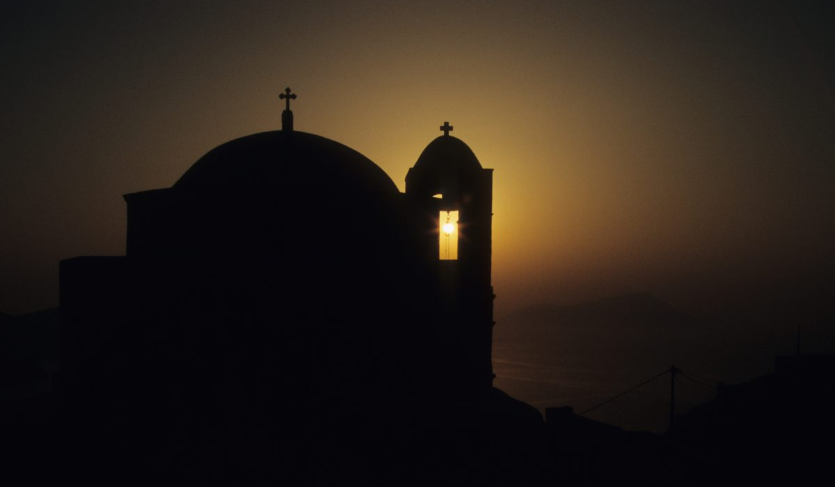 church, sunset, contrast
