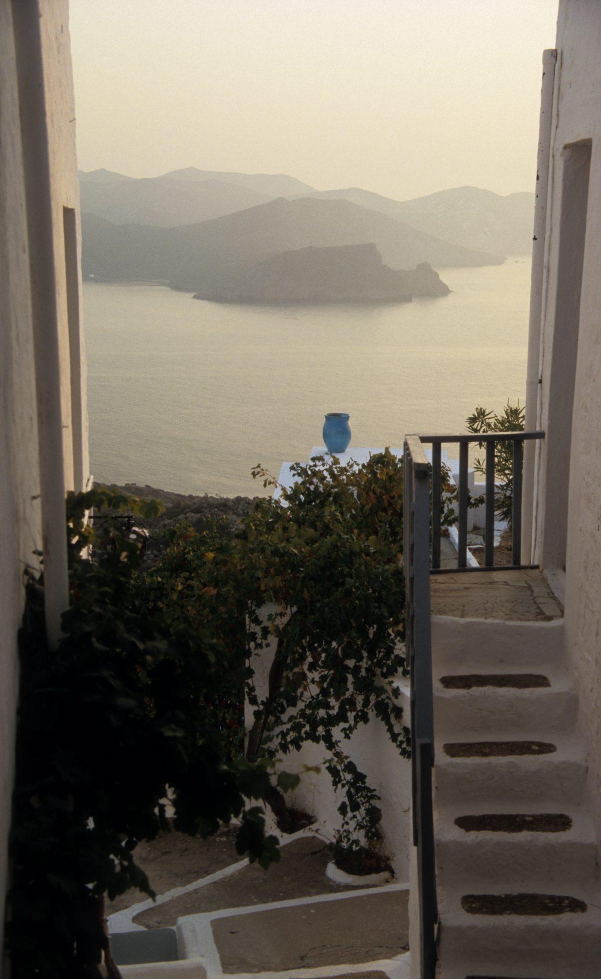 sea, stair, village