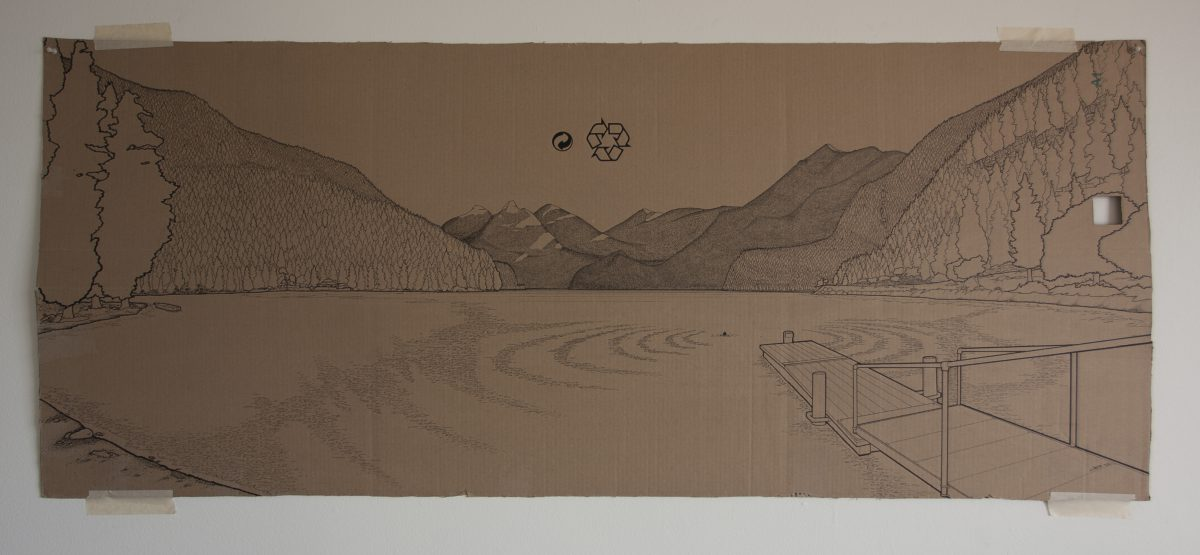 Joe in the lake - 160x67cm markers on containerboard. Lake Cresent, ch3, cardboard