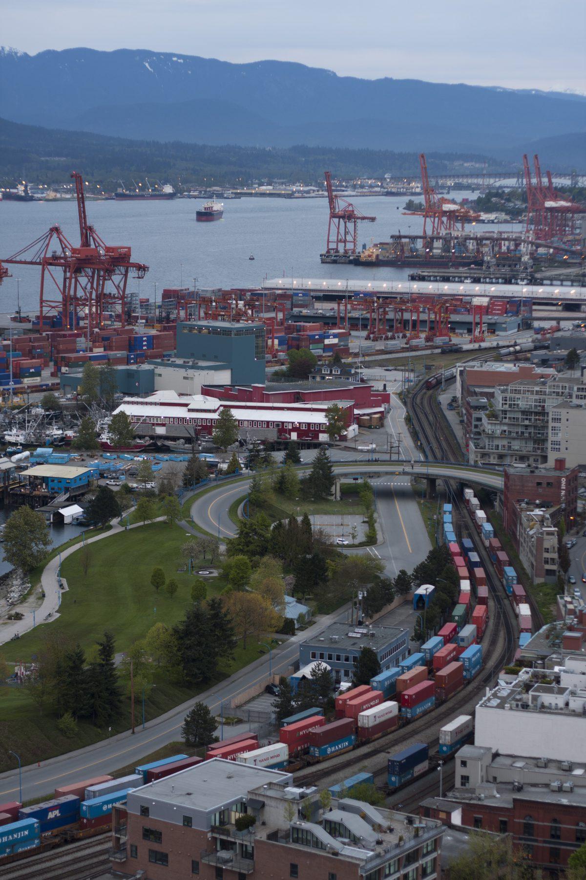 port, cargo, view, crane, train