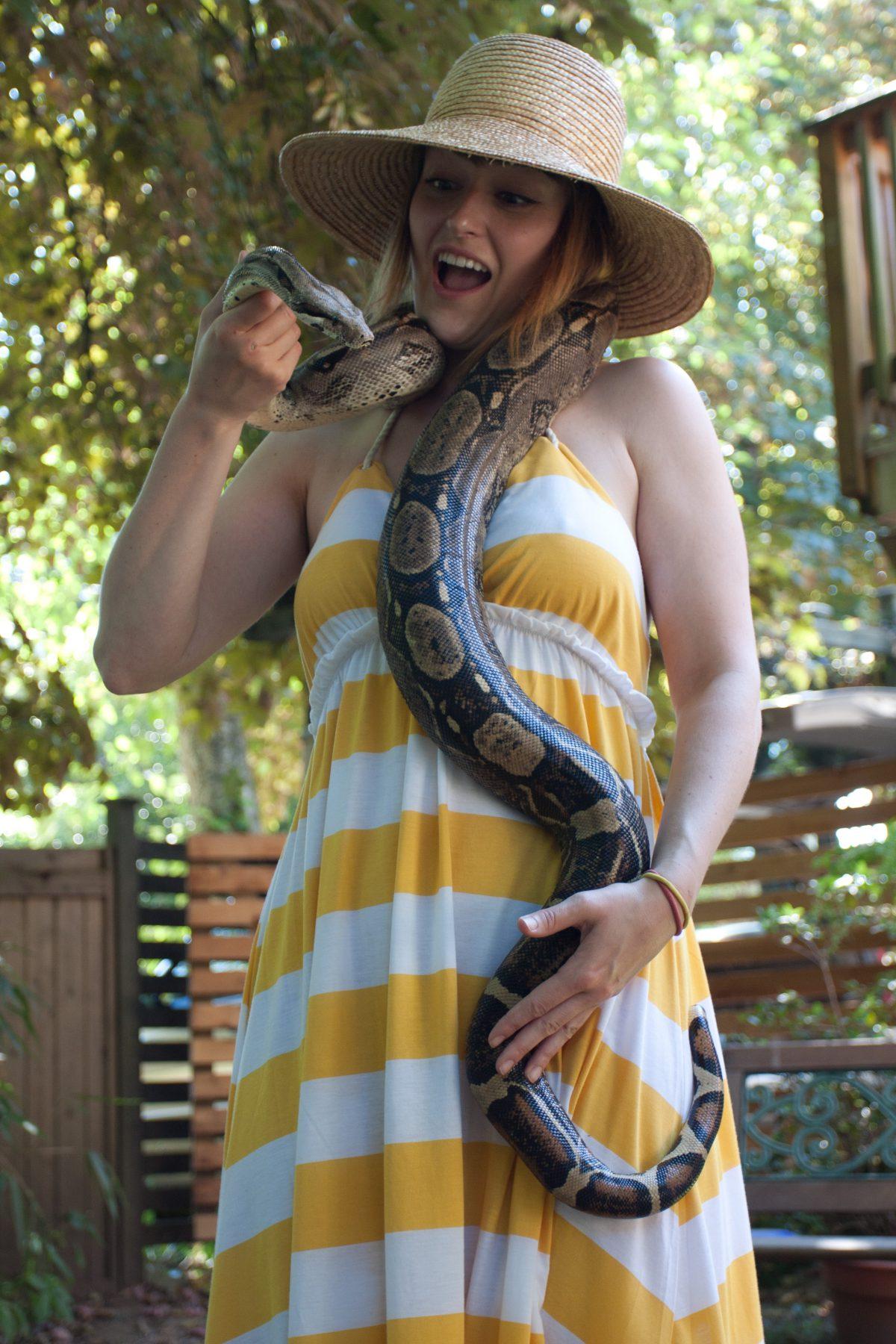 the birthday girl, snake, animal, female