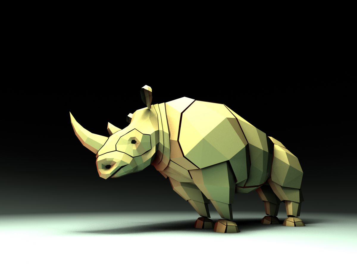 Rhino - 3D Model made for real time demo, Spin, ch3
