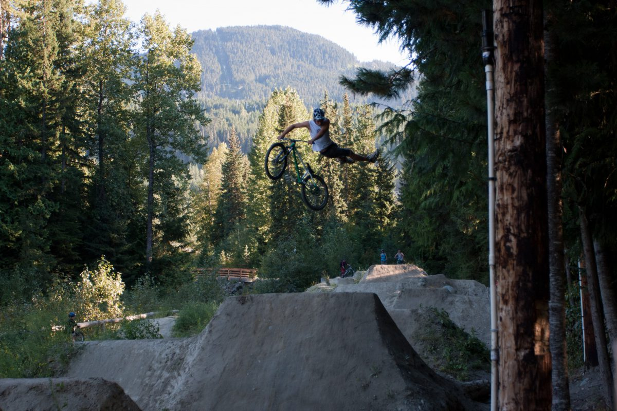 Dirt jumps - at Whistler bike park, forest, bike