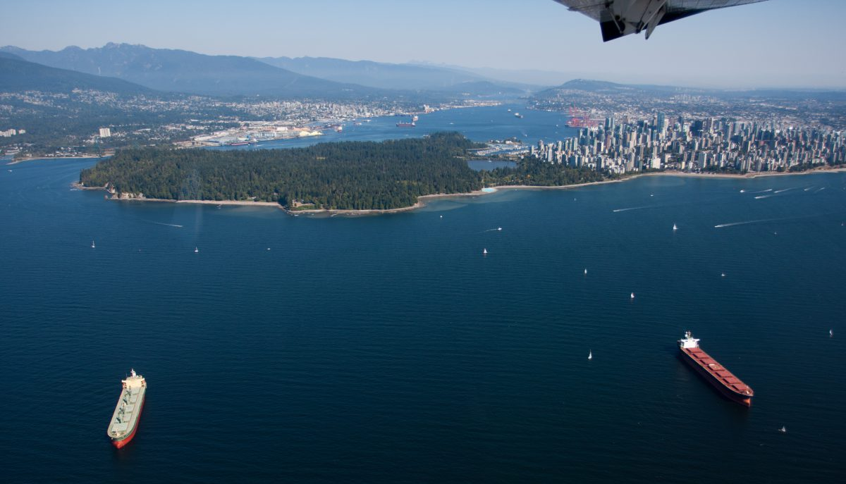 Vancouver from above, sea, water, seaplane, boat, city