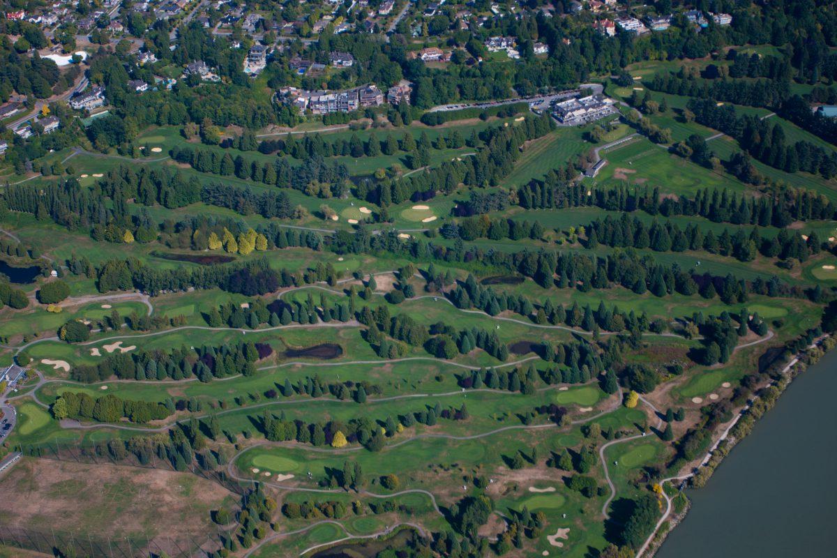 Golf course, sea, water, seaplane