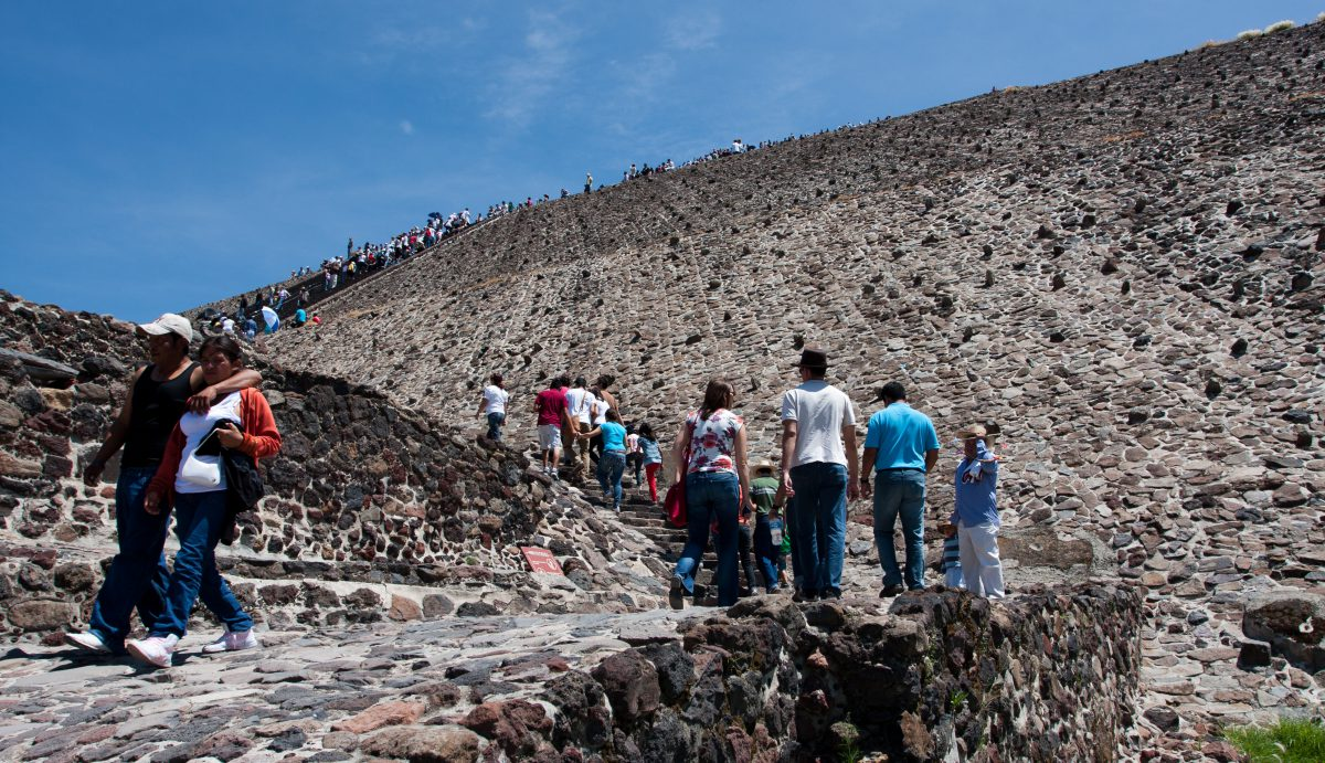 Climbing - the sun pyramid of Teotihuacan, landmark, pyramid