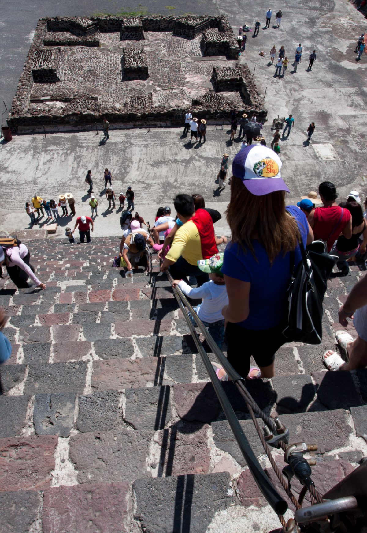 Descending the Moon Pyramid - At Teotihuacan, landmark, pyramid