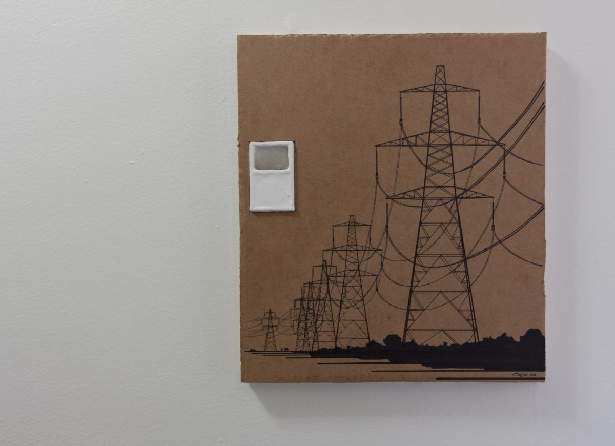 Power Lines - 28x32cm, markers on containerboard, ch3, cardboard