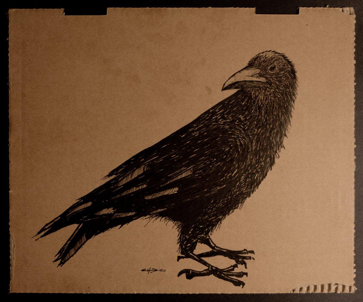crow - 32x26cm, markers on cardboard, cardboard, ch3