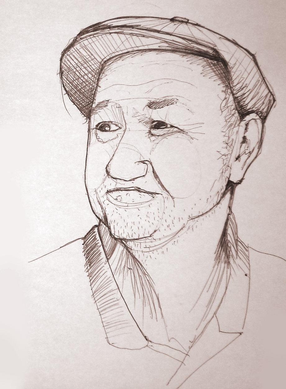 old man - pen on paper, 15cm, ch3