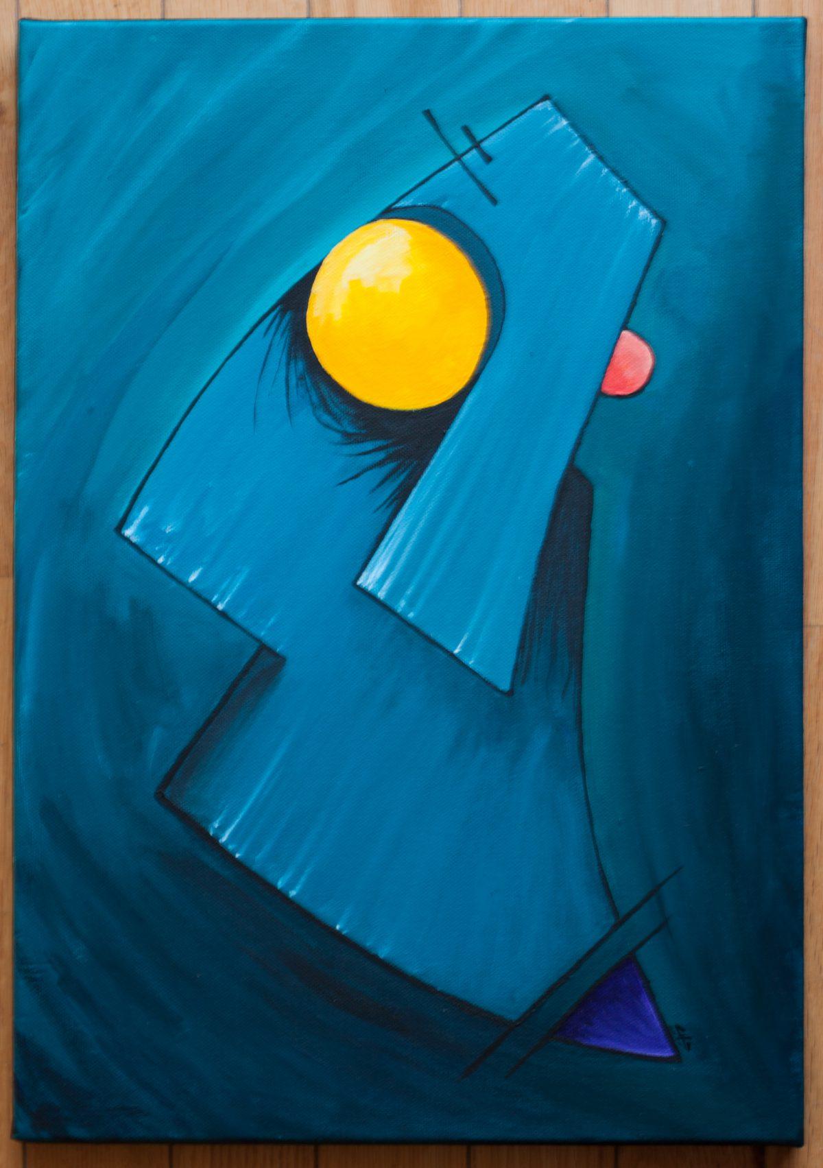 Double face - 35x50cm acrylics, ch3, painting, acrylic