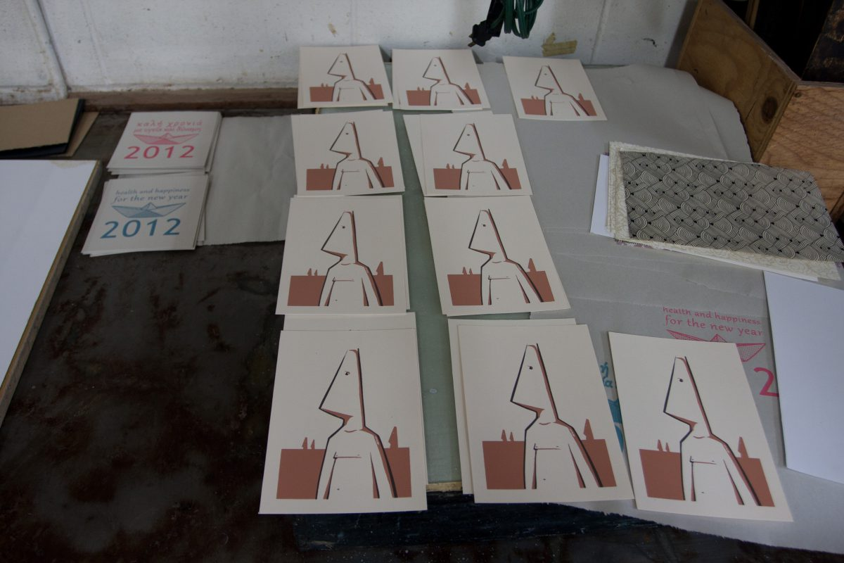 Conehead copies - At Malaspina Studio, silkscreen, ch3, cardboard