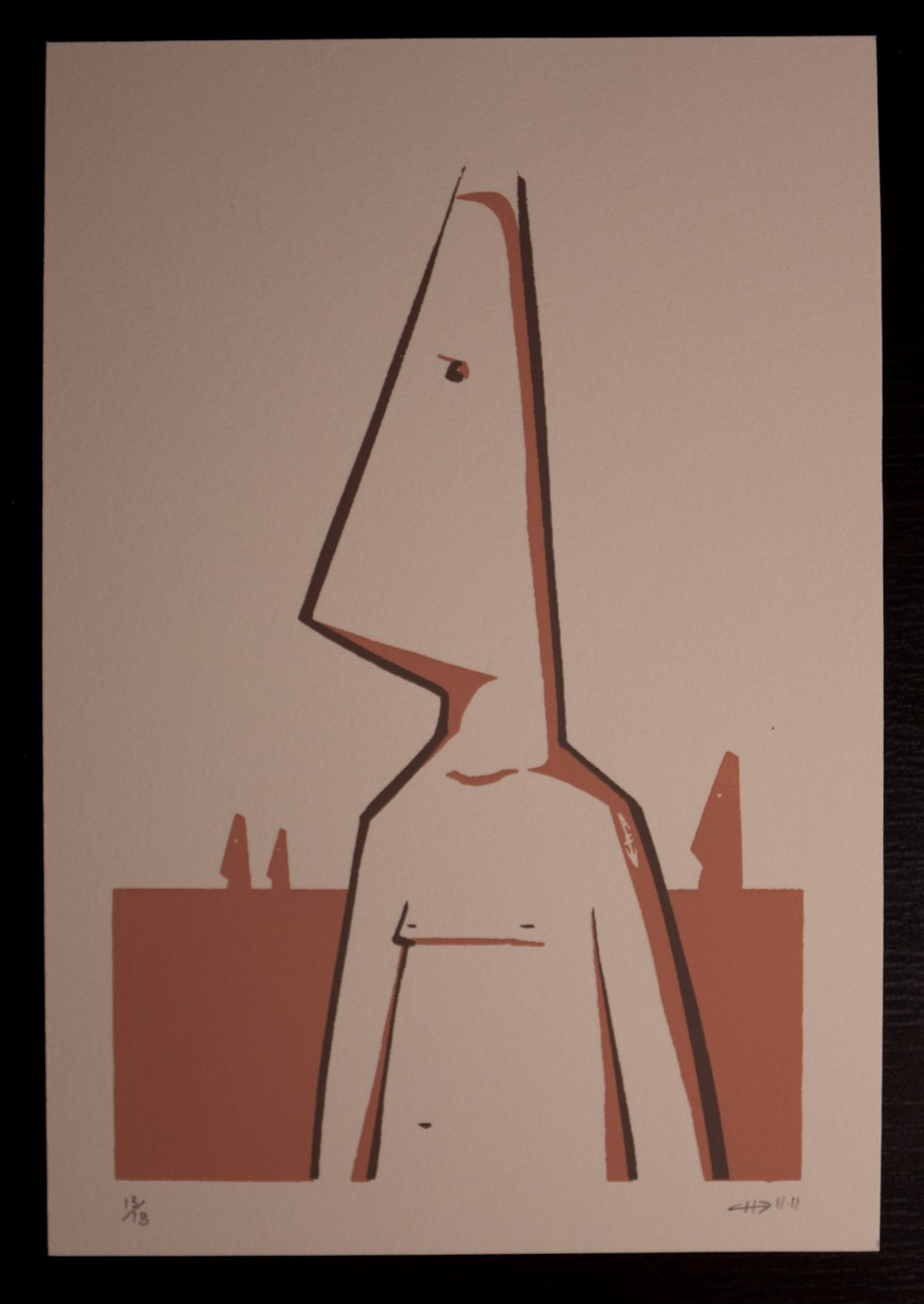 Coneman - 13x19cm silk screen print. 18 copies on warm white cardboard, silkscreen, ch3, cardboard
