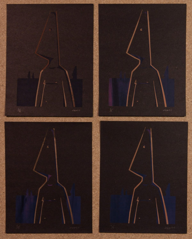 Coneman - 13x19cm silk screen print. 4 copies on black cardboard, silkscreen, ch3, cardboard