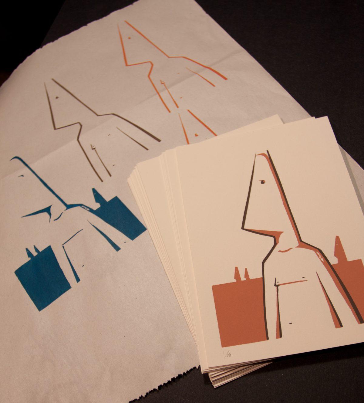 Conehead copies, silkscreen, ch3, cardboard