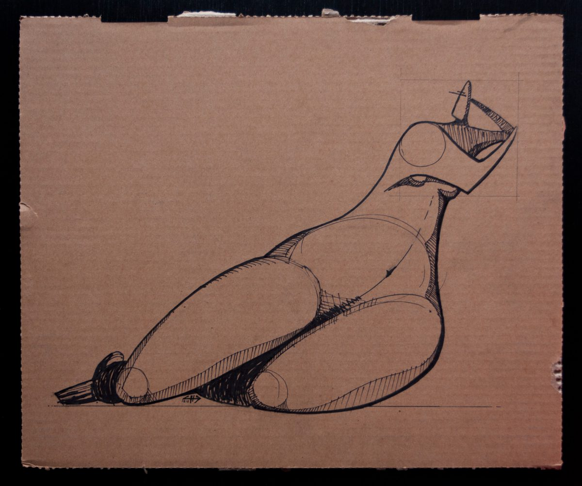 Female Figure - 40x33cm, markers on cardboard, ch3, cardboard, ink