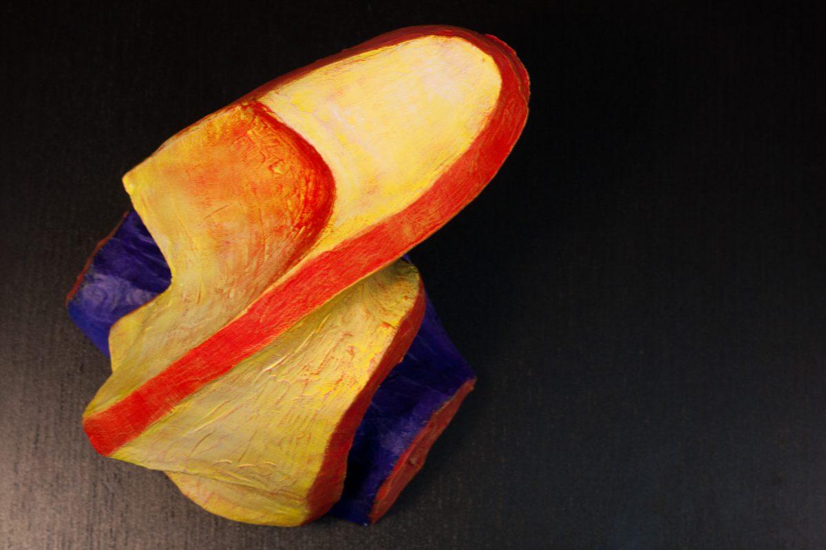 Twist Face - 20cm, clay & acrylics, ch3, clay, acrylic, sculpture, bust
