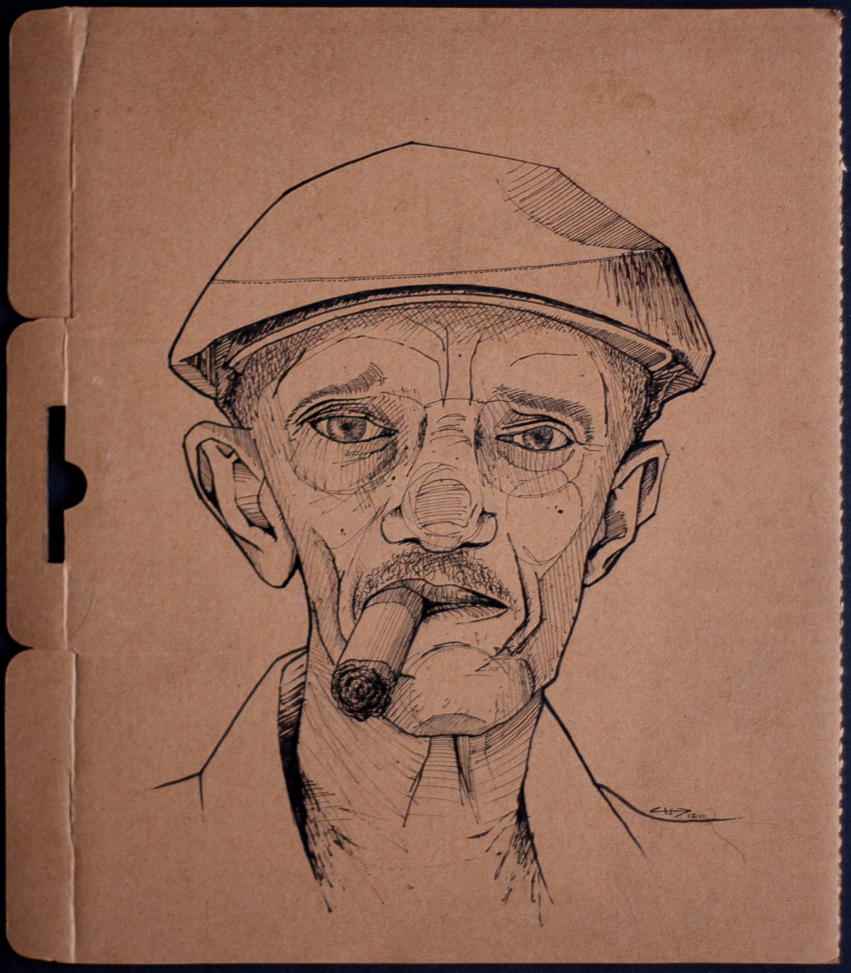 Man with cigar - 25x30cm, ink on cardboard, cardboard, ink, ch3