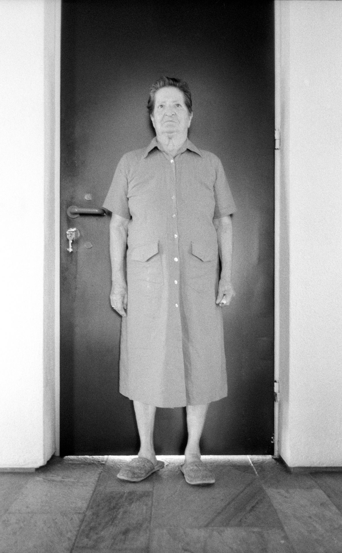 Grandmother, female, photoshoot, door, bw